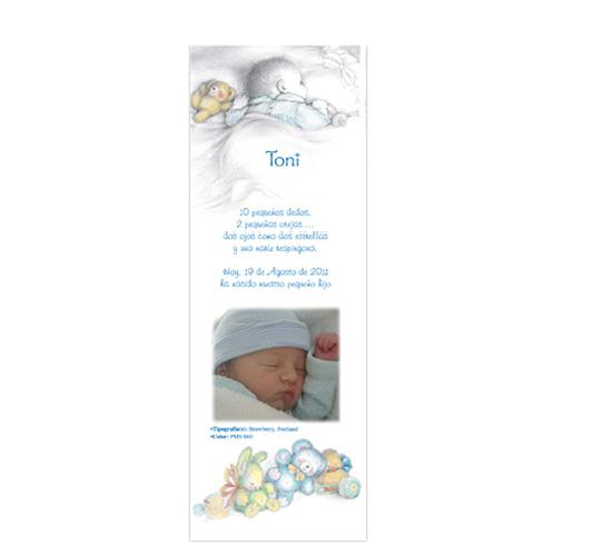 Invitatie botez stil semn de carte cu bebelusul care doarme BUSQUETS