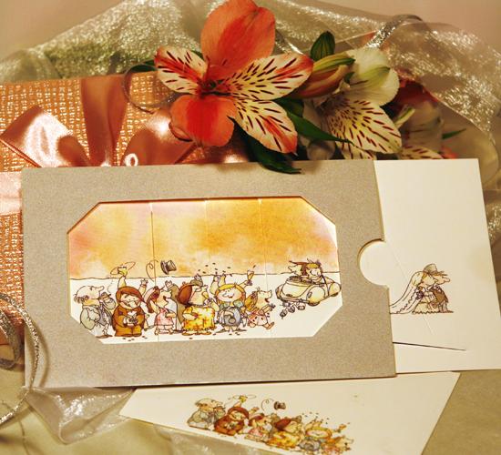 Invitatie de nunta cu doua imagini cu alaiul de nuntasi BUSQUETS
