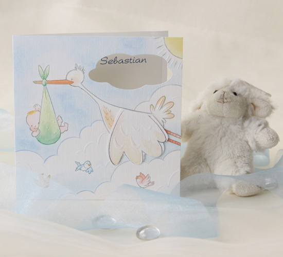 Invitatie cu barza care zboara cu bebe in cioc BUSQUETS