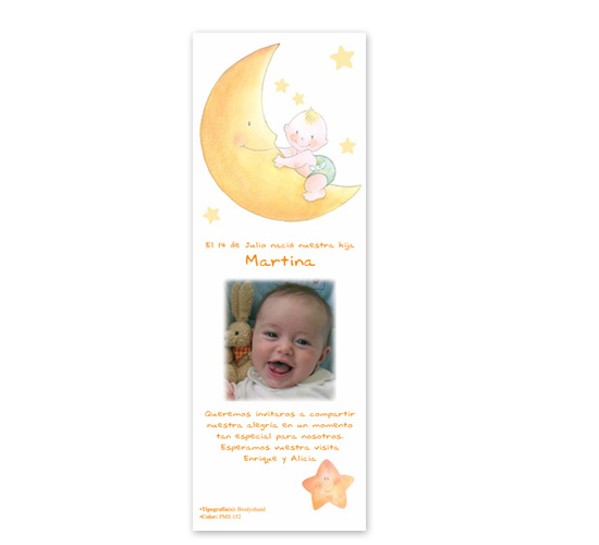 Invitatie botez stil semn de carte cu bebelusul pe luna BUSQUETS