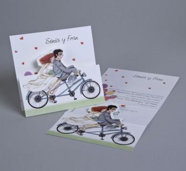 Invitatie de nunta cu miri pe bicicleta tandem