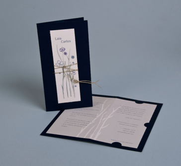 Invitatie de nunta cu snur rafie