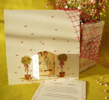 Invitatie de nunta haioasa cu mirii in usa bisericii
