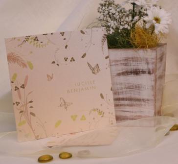 Invitatie de nunta cu fluturas