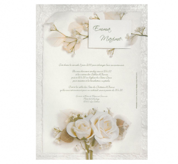 Invitatie cu trandafiri albi