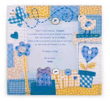 Invitatie zi de nastere albastra