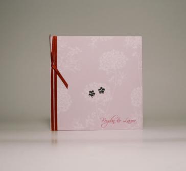 Invitatie de nunta roz cu pietricele