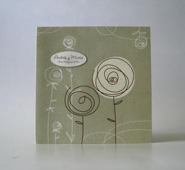 Invitatie doua flori stilizate