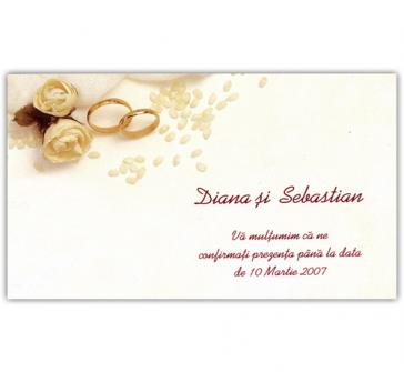 Card de confirmare cu trandafiri, verighete si snur