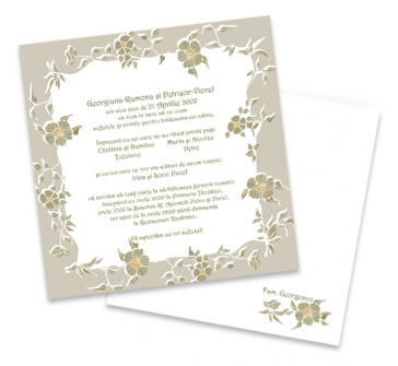 Invitatie de nunta alba cu design floral