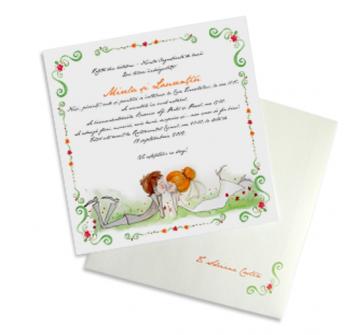 Invitatie de nunta Bride and Groom Kissing