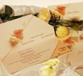 Invitatie pe lung, cu trandafiri si verighete