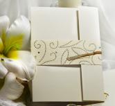 Invitatie de nunta cu panglica si multe puncte aurii