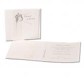 Invitatie de nunta eleganta cu mire si mireasa cu panglica