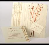 Invitatie nunta cu ramura rosie si snur alb