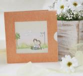 Invitatie de nunta cu doua imagini haioase, portocalie