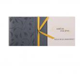 Invitatie de nunta gri sidef cu frunze aplicate si panglica aurie