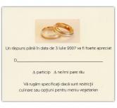 Card de confirmare crem cu doua inele aurii