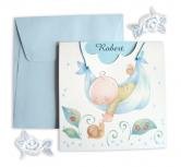 Invitatie de botez cu bebe in hamac - baietel
